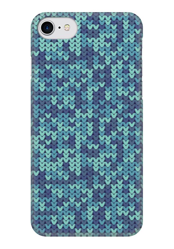 Чехол для iPhone 7 глянцевый Printio Голубой вязаный узор чехол для iphone 5 printio вязаный телефон