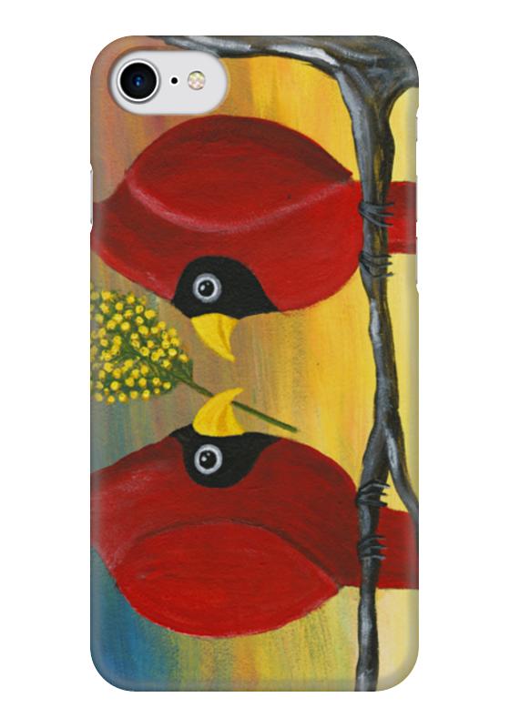 Чехол для iPhone 7 глянцевый Printio Птички кардиналы