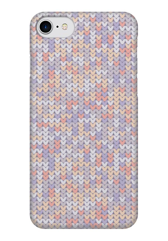 Чехол для iPhone 7 глянцевый Printio Сиреневый вязаный узор чехол для iphone 5 printio вязаный телефон