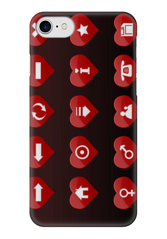 Чехол для iPhone 7 глянцевый Printio Сердечки-иконки чехол для iphone 7 глянцевый printio розовые сердечки