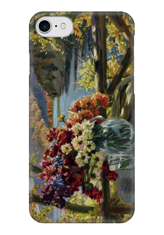 Чехол для iPhone 7 глянцевый Printio Цветы на фоне озера чехол для iphone 7 глянцевый printio сад на улице корто сад на монмартре