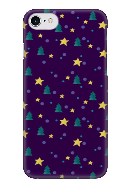 Чехол для iPhone 7 глянцевый Printio Елки и звезды