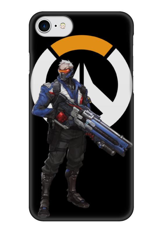 Чехол для iPhone 7 глянцевый Printio Overwatch soldier 76 / овервотч солдат 76