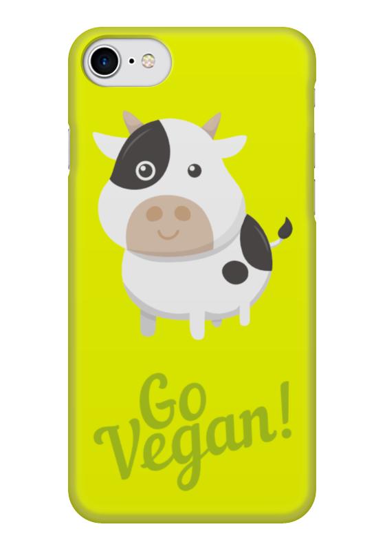Чехол для iPhone 7 глянцевый Printio Go vegan! стоимость