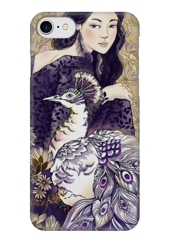 Чехол для iPhone 7 глянцевый Printio Девушка и павлин