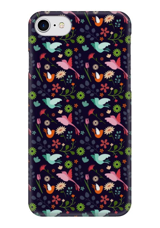 Чехол для iPhone 7 глянцевый Printio Birds & flowers чехол для iphone 7 глянцевый printio skull art