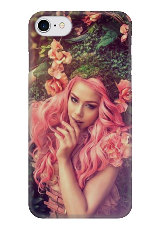 Чехол для iPhone 7 глянцевый Printio Девушка с розовыми волосами
