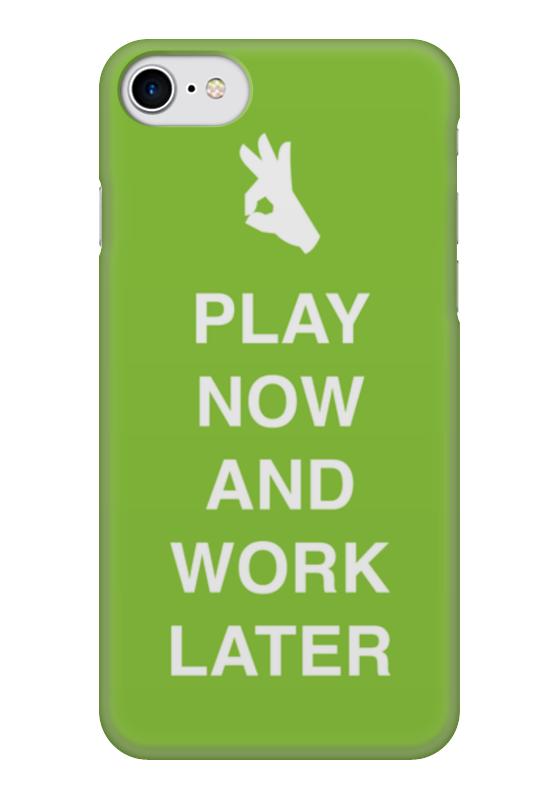 Чехол для iPhone 7 глянцевый Printio Play now and work later подушка 40х40 с полной запечаткой printio play now and work later