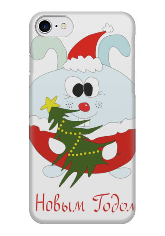 Чехол для iPhone 7 глянцевый Printio Новогодний заяц