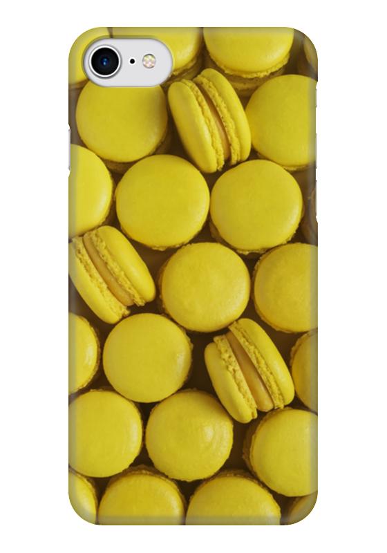 Чехол для iPhone 7 глянцевый Printio Пирожные макаронс желтые