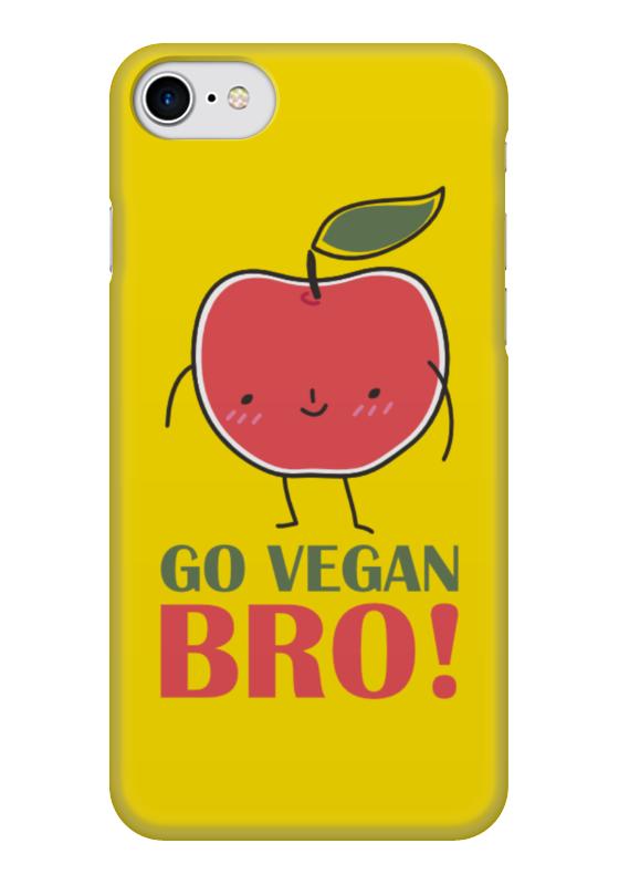 Чехол для iPhone 7 глянцевый Printio Go vegan bro! стоимость
