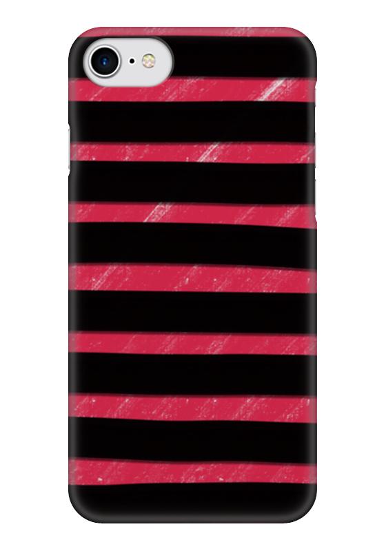 Чехол для iPhone 7 глянцевый Printio Полосато-розовый чехол для муха iq446 кожа iq446 роскошь полиуретан открытая вверх и пуховик черный белый розовый цвет