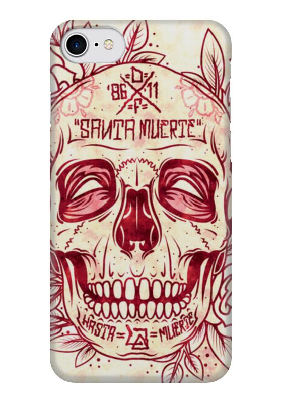 Чехол для iPhone 7 глянцевый Printio Santa muerte skull