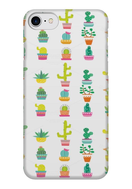 Чехол для iPhone 7 глянцевый Printio Кактусы в горшочках.  д в семенов кактусы