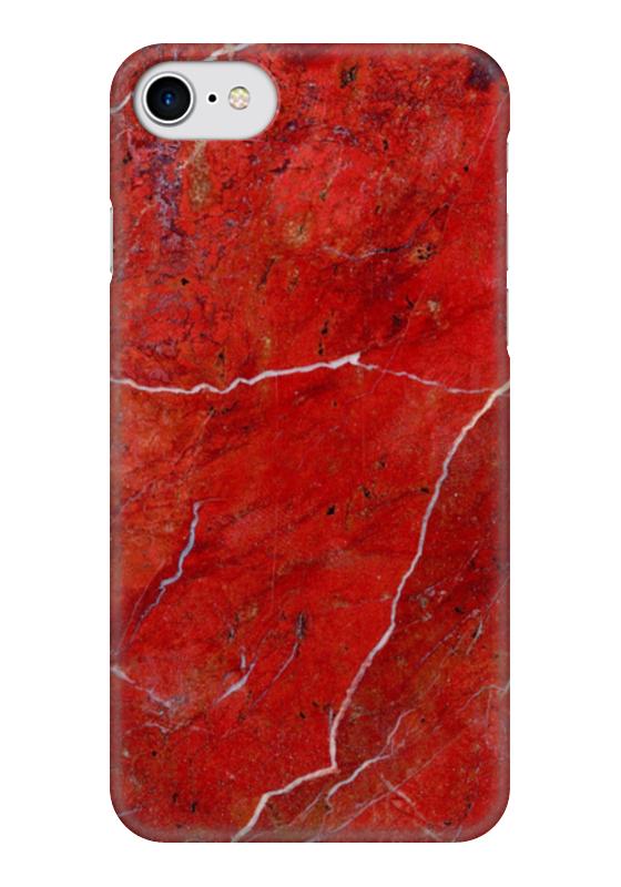 Чехол для iPhone 7 глянцевый Printio Красный мрамор чехол для iphone interstep для iphone x soft t metal adv красный