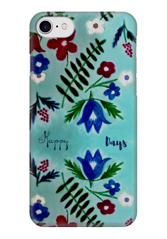 Чехол для iPhone 7 глянцевый Printio Цветы на голубом чехол для iphone 7 глянцевый printio цветы на голубом
