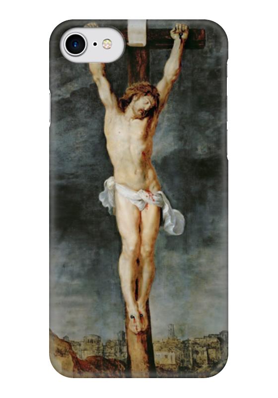 Чехол для iPhone 7 глянцевый Printio Христос на кресте вышивка бисером молящийся христос