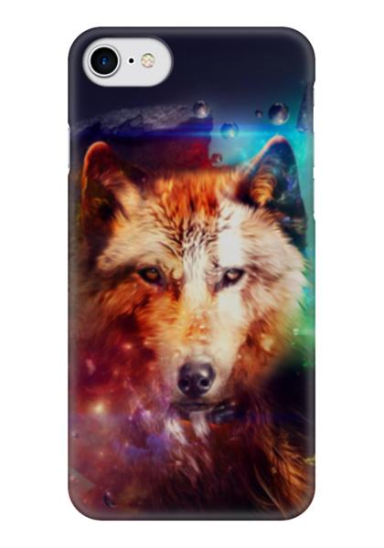 """Чехол для iPhone 7 глянцевый """"Разноцветный волк"""" - арт, цвета, волк"""