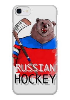 """Чехол для iPhone 7 глянцевый """"Русский Хоккей"""" - медведь, сборная россии, хоокей"""