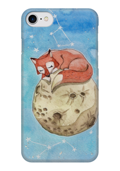 """Чехол для iPhone 7 глянцевый """"Лисёнок на Луне"""" - звезды, космос, луна, акварель, лиса"""