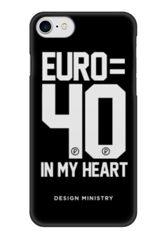 """Чехол для iPhone 7 глянцевый """"EURO 40 by DESIGN MINISTRY"""" - россия, евро, euro, нефть, designministry"""