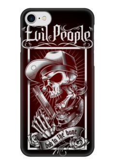 """Чехол для iPhone 7 глянцевый """"Злые Люди"""" - skull, череп, пистолет, evil, зло"""