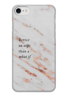 """Чехол для iPhone 7 глянцевый """"Stone&Quote"""" - белый, золотой, цитата, мармор"""