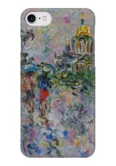 "Чехол для iPhone 7 глянцевый ""Питер"" - питер, улица, дождь, зонт, собор"