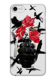 """Чехол для iPhone 7 глянцевый """"треш полька"""" - граната, тату, розы, треш полька"""