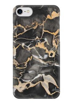 """Чехол для iPhone 7 глянцевый """"Мрамор (3)"""" - серый, мрамор, marble, черный, stone"""
