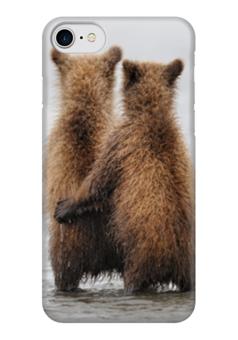 """Чехол для iPhone 7 глянцевый """"Мишки"""" - любовь, обнимашки, медвежата, парочки"""