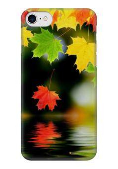 "Чехол для iPhone 7 глянцевый ""Клён."" - красный, желтый, зеленый, вода, клён"