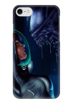 """Чехол для iPhone 7 глянцевый """"Чужой (Alien)"""" - арт, монстр, пасть, чужой, эллен рипли"""