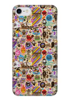 "Чехол для iPhone 7 глянцевый ""Боюсь, Что Вы Девушка"" - sticker bombing, стикер-арт"