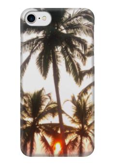 """Чехол для iPhone 7 глянцевый """"Закат Солнца"""" - закат солнца, закат, sunset, пальмы, гоа"""