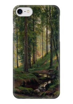"""Чехол для iPhone 7 глянцевый """"Ручей в лесу"""" - картина, шишкин"""