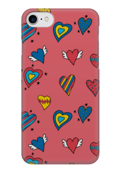 """Чехол для iPhone 7 глянцевый """"Heart doodles"""" - сердечки, 14февраля, hearts, doodles"""