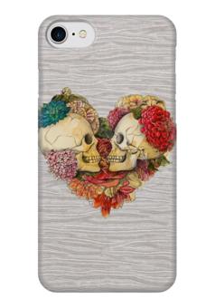 """Чехол для iPhone 7 глянцевый """"Skull Art"""" - skull, череп, сердце, heart, цветы"""