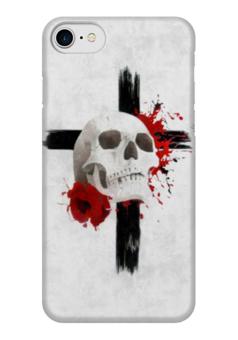 "Чехол для iPhone 7 глянцевый ""Sweet dream"" - череп, клякса, крест, мак, треш"