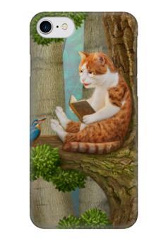 """Чехол для iPhone 7 глянцевый """"Читающий кот"""" - кот, cat, лес, сказка, книга"""