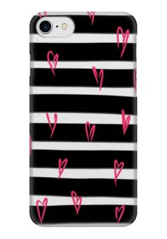 """Чехол для iPhone 7 глянцевый """"Розовые сердечки"""" - черный, черно-белый, розовый, полосатый, полоски"""