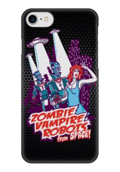 "Чехол для iPhone 7 глянцевый ""Zombie, Vampire, Robots"" - девушка, зомби, вампиры, роботы, нло"