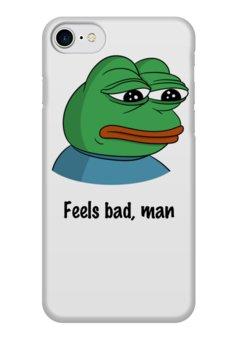 """Чехол для iPhone 7 глянцевый """"Feels bad man"""" - мем, пепе, мемы"""
