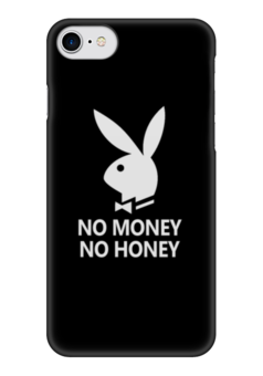 "Чехол для iPhone 7 глянцевый ""No money, no honey"" - юмор, playboy, зайчик, no money, no honey"