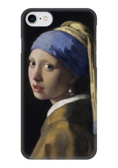 """Чехол для iPhone 7 глянцевый """"Девушка с жемчужной серёжкой (Ян Вермеер)"""" - картина, вермеер"""