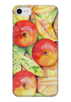 """Чехол для iPhone 7 глянцевый """"Осенние Яблоки"""" - листья, осень, ярко, дерево, яблоки"""