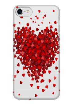 """Чехол для iPhone 7 глянцевый """"hearts"""" - сердце, любовь, heart, love, red"""