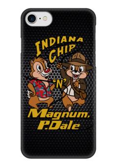 "Чехол для iPhone 7 глянцевый ""Чип и Дейл (Индиана Джонс)"" - пародия, чип и дейл, chip and dale, indiana jones"