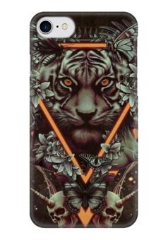 "Чехол для iPhone 7 глянцевый ""арт тигр "" - череп, бабочки, цветы, тигр"