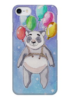 """Чехол для iPhone 7 глянцевый """"Панда-путешественница"""" - звезды, панда, космос, воздушные шары, акварель"""